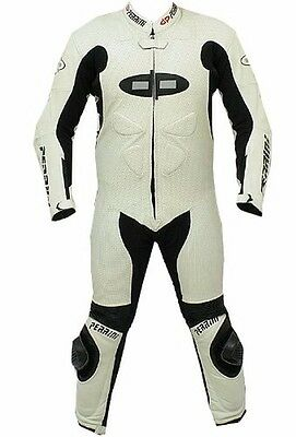 Perrini's Fusion Motorcycle Racing Suit Leather Suit - WHITE