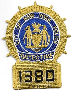 """Detective - 1380, NY (3.2"""" x 4"""" size) shoulder police patch (fire)"""