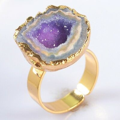 Size 7 Hot Pink Agate Druzy Geode Adjustable Ring Gold Plated H86765