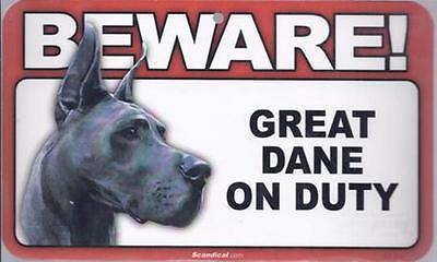 """Scandical """"Beware! Great Dane on Duty"""" Novelty Sign New"""