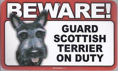 """Scandical """"Beware! Guard Scottish Terrier on Duty"""" Novelty Sign New"""