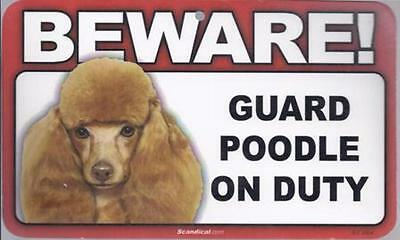 """Scandical """"Beware! Guard Poodle on Duty""""  (Brown) Novelty Sign New"""
