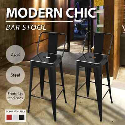 2pcs Steel Bistro High Bar Stool w/ Backrest Kitchen Dining Room White/Black/Red