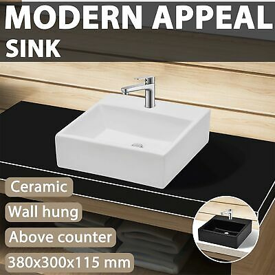 Bathroom Ceramic 38x30cm Wash Above Counter Vanity Basin Top Bowl White/Black