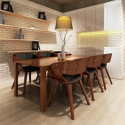 1/2/4/6pcs Brown Faux Leather Dining Chairs Wood Frame Stool Kitchen Dining Room