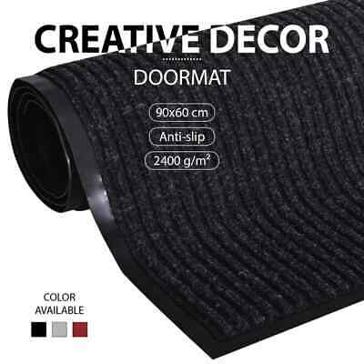 Entrance Doormat PVC Back Patterned Outdoor Coir Home Black/Grey/Red Multi Sizes