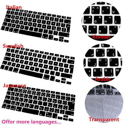 Multi language Silicone Keyboard Cover for MacBook Air Pro Retina Mac 13 15 17