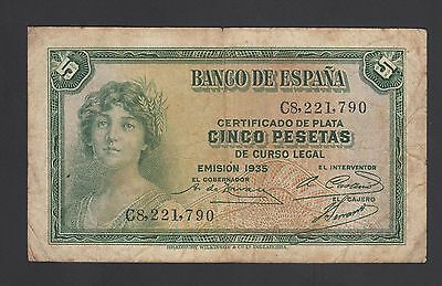 Spain  5 Pesetas 1935  Fine +  P. 85,   Banknote, Circulated