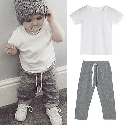 Toddler Kids Baby Boy Outfits Clothes T-shirt Tops+Long Pants Tracksuit 2PSC Set