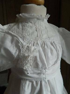 Antique Edwardian white cotton baby or doll's - dress Swiss embroidery lace