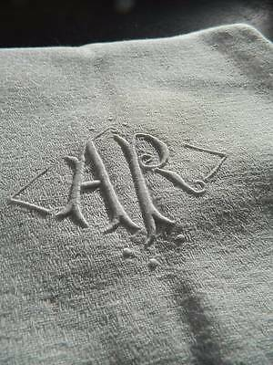 "Antique white French linen damask banquet tablecloth - monogram ""A.R"" 90"" x 64"