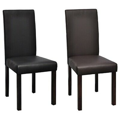 Black/Brown 2/4/6 pcs PU Leather Dining Chair Kitchen Stool Set High Back Seat