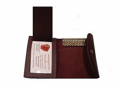 Made in USA ~ 8 HOOK  ~ BLACK  ~ Key Case with ID Holder ~  LEATHER ~ wallet