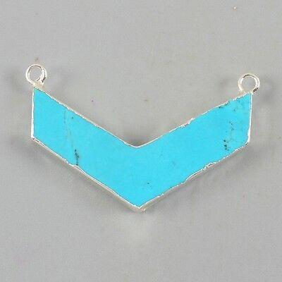 Boomerang V-Shape Blue Howlite Turquoise Connector Silver Plated B026780