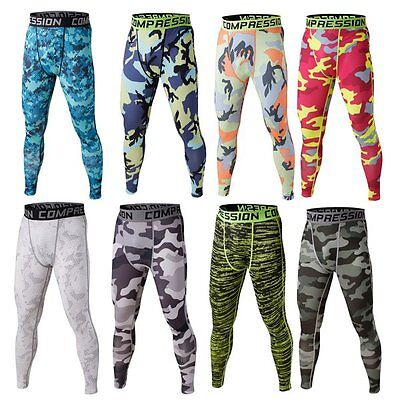 Mens Sports Pants Wicking Compression Base Layer Leggings Camo Stretch Trousers