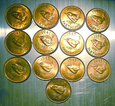 13 George VI farthings 1938-43 high grade with lustre, + 19 other farthings