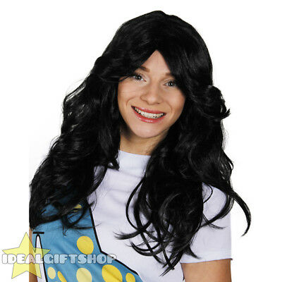 Ladies Flick Wig 70's Style Black Womens Wavy Hair Fancy Dress Costume Accessory