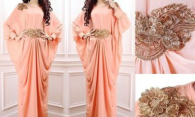Dubai Abaya Kaftan Farasha Maxi Dress Peach Colour