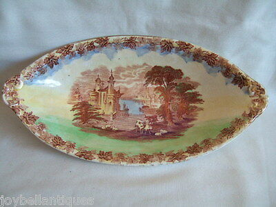 Maling, England. Picture Bowl. Oval Lustre Bowl. Rural Scene.