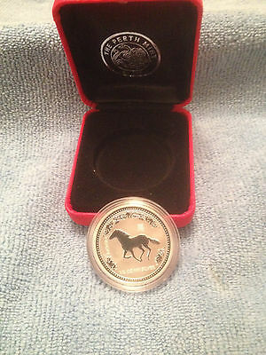 """Australia 2002 """"Year of the HORSE """"1/2 oz .999 Solid Fine Silver Coin with case"""