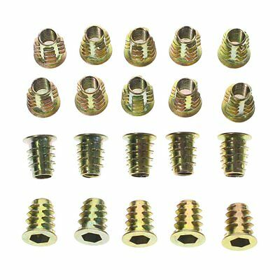 M6 40pcs Zinc Alloy Furniture Hex Drive Head Nut Threaded For Wood Insert