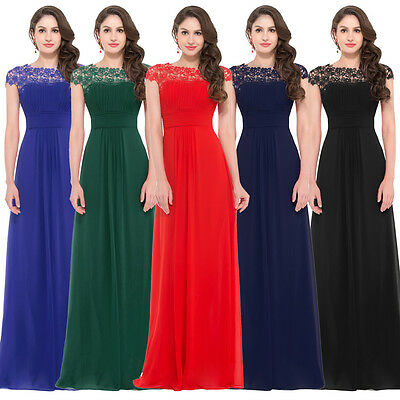 Long Chiffon Lace Bridesmaid Prom Formal Evening Cocktail Party Gown Maxi Dress
