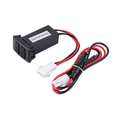 Twin Dual Double Port 2 USB 12V In Car Socket Lighter Charger Adapter For Mazda
