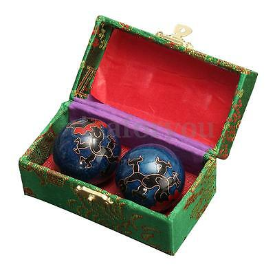 Chinese Health Exercise Stress BAODING Balls 42cm Relax Therapy Dragon + Case
