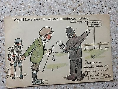 """Rare 1903 Wrench Series Golf Postcard """"What Have I Said"""""""