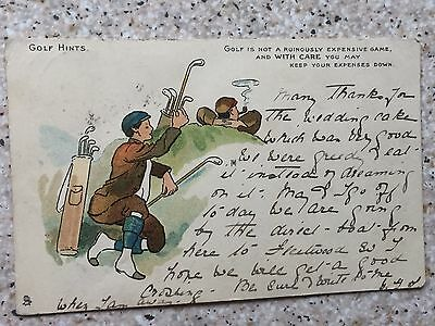 """Rare 1903 Wrench Series Golf Postcard from the """"GOLF HINTS SERIES"""""""