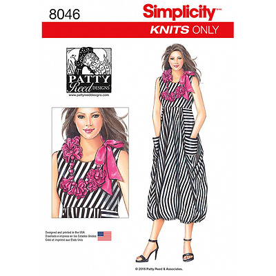 Misses' Knit Balloon Dress with Flower Necklace Simplicity Sewing Pattern 8046