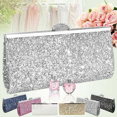 Womens Glitter Clutch Bag Sparkly Silver Gold Black Evening Bridal Party Purse