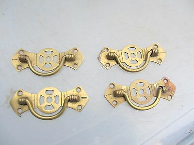 Antique Brass Drawer Handles Dresser Pulls Hardware Vintage x4 Victorian   1885