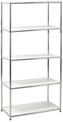 Library Shelf Chrome Librerie Office 5 Slice White Scratchproof 40x80x160