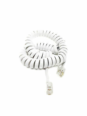 2m Telephone Handset Coiled RJ10 Plug to RJ10 Plug Cable Lead - WHITE