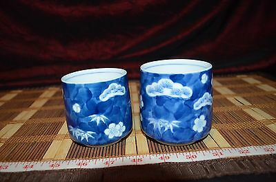 2 Asian Porcelain Blue And White Floral Design Tea Cups Marked