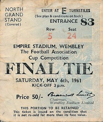 TICKET: FA CUP FINAL 1961 Tottenham v Leicester City