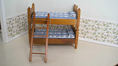 Dollhouse Miniature Furniture ~Twin Size Bunk Beds ~ Separate Twin Beds ~ Ladder
