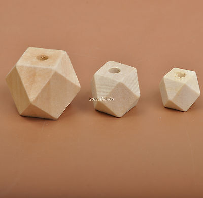 12mm 15mm 20mm Geometric Wood Bead Unfinished Natural Wooden spacer Craft beads