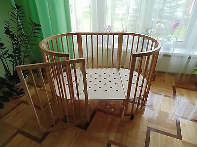 Solid wood cot bed in WHITE (fits STOKKE mattress) ***in white***