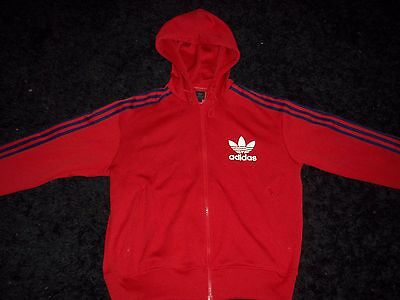 Men's Vintage Adidas Hooded Tracksuit Top Size Large Red