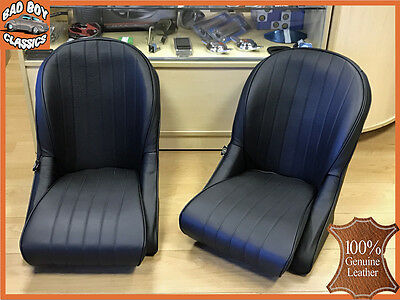 Pair BB Vintage Black Classic Car Seats Rounded Back Universal 100% LEATHER