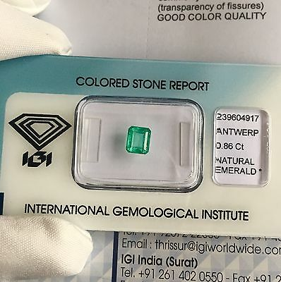 Natural Loose Colombian Emerald 0.86ct Green IGI Certified Blister RARE Gem