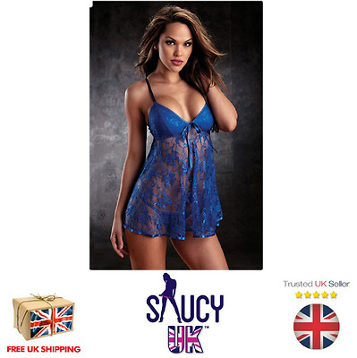 Womans Beautiful Blue Lace Babydoll & G-String Thong - UK Seller