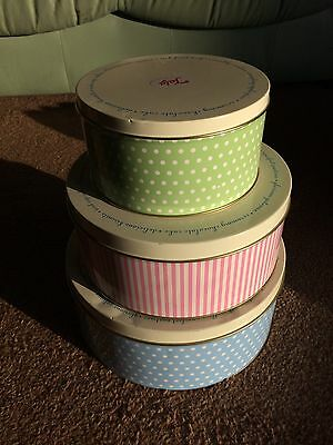Set of 3 Round Cake Cookie Cupcake Biscuit Baking Sweets Storage Tin Box Gift