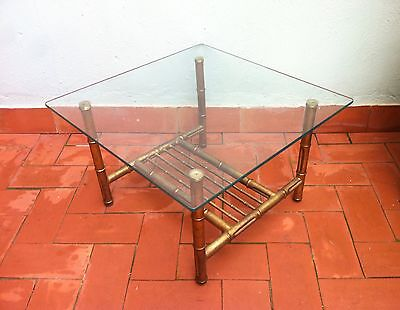 Mid Century Faux Bamboo Coffee Tables with Rack Magazine, Spain, 1950s Vintage