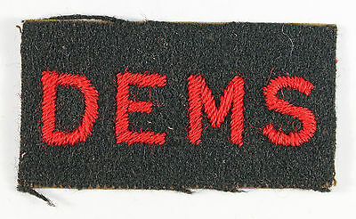 D.E.M.S. Embroidered WW2 Shoulder Title Badge