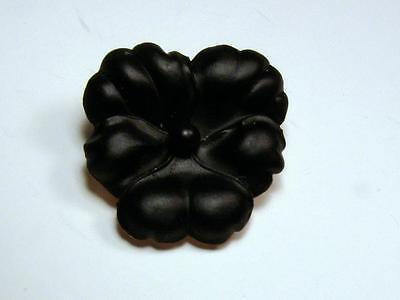 Stunning!! Victorian 14k Rose Gold Carved Onyx Pansy Mourning Pin