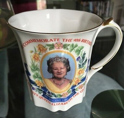 Queen Elizabeth The Queen Mother 90th Birthday Mug and Saucer - 4th August 1990