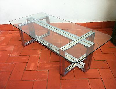 Mid Century 60s  Spanish Chromed Steel & Brass Coffee Table Romeo Rega manner
